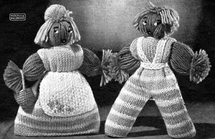 Vintage yarn dolls with knitted outfits