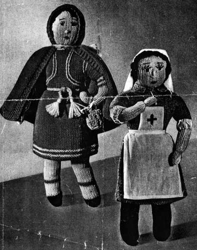Vintage knitting pattern for little red riding hood and nurse dolls