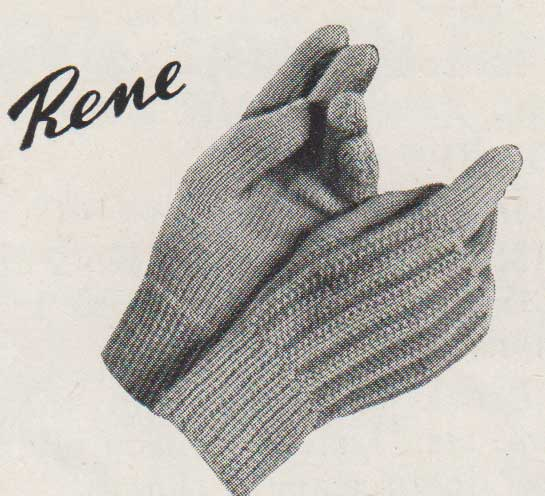 Rene children's gloves. Knit flat on two needles