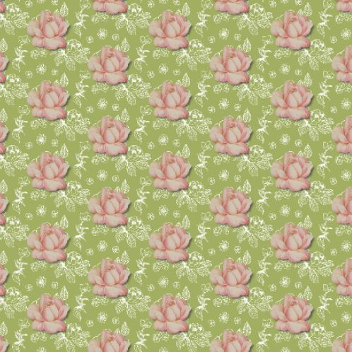 Romantique in green. A fabric from Spoonflower