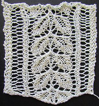 Rose leaf lace insertion knit from a Victorian era knitting pattern