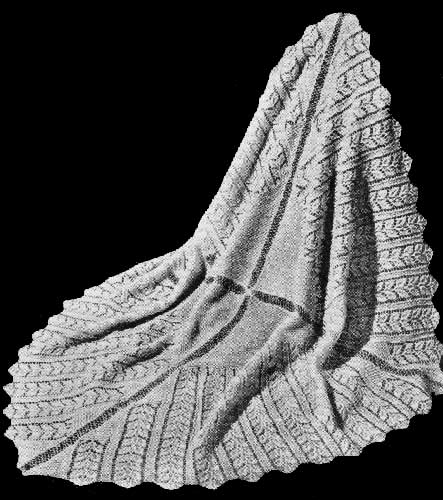 Knitted lace baby shawl with rose leaf lace pattern