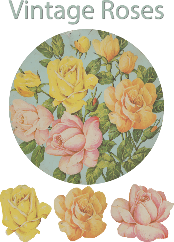 Antique tin with painted roses