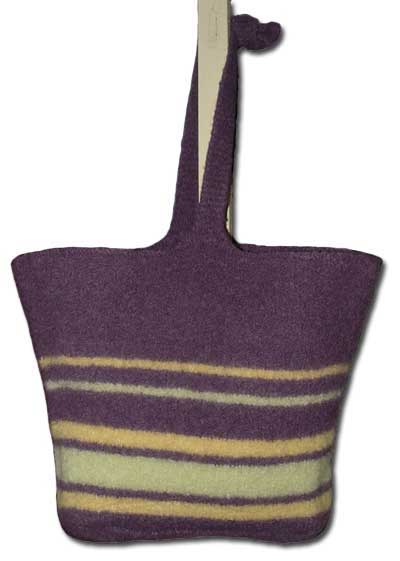 Large knitted felt tote bag with stripes