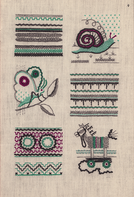 Vintage embroidered sampler with running stitch and variations