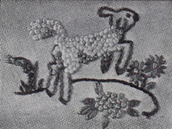Embroidered lamb with French knots