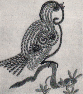 Bird embroidered in whipped chain stitch
