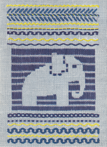 Darned elephant in running stitch