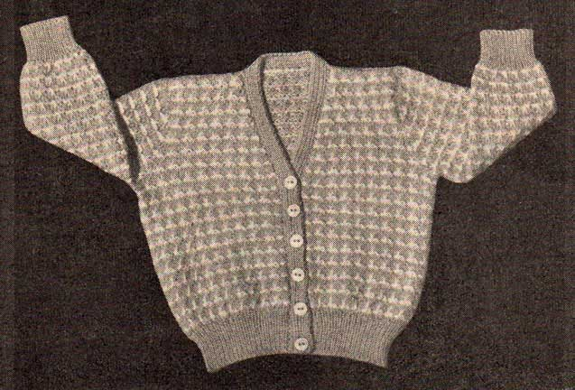 V-neck baby cardigan with long sleeves and coloured patterning