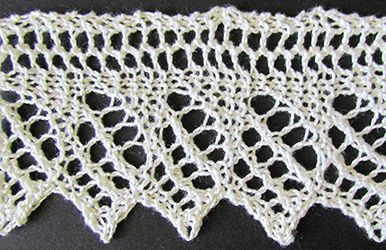 Pointed lace edge with eyelet diamonds knit from a Victorian era knitting pattern.