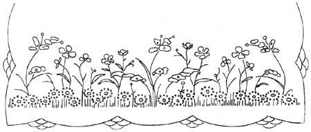 Embroidery pattern with flowers and fancy scalloped border