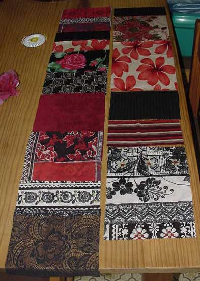 Red and black patches laid in order for sewing