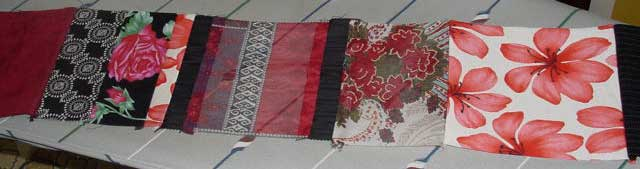 Red and black patches sewn together