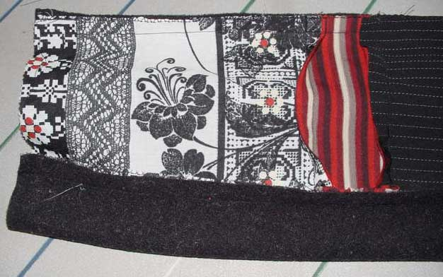 Stitching the polar fleece to the patchwork