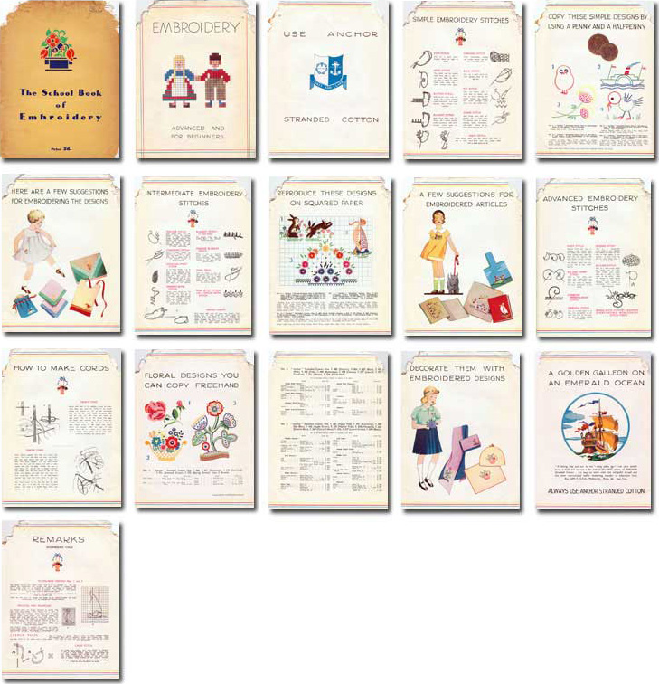 The schoobook of embroidery page thumbnails