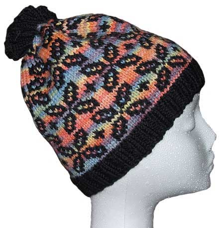 Stranded knitted hat with drawstring top