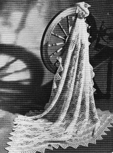 Traditional Shetland knitted lace baby shawl