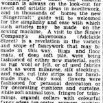 A Description of Singercraft Articles to be Shown at the Royal National Show (Australia), Brisbane Courier, August 3, 1934