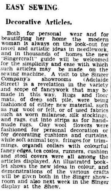 Article about the Singercraft guide from 1934