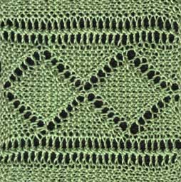 Knitted lace insertion with diamond pattern