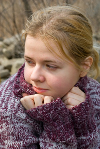 Girl wearing a jumper