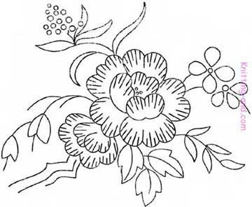 Vintage flower embroidery pattern
