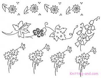 Grape vine and flower emrboidery patterns