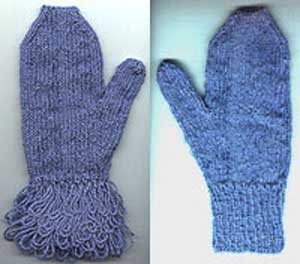Mittens with and without a fringed cuff