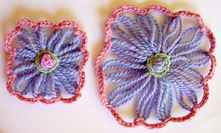 Square loomed flowers