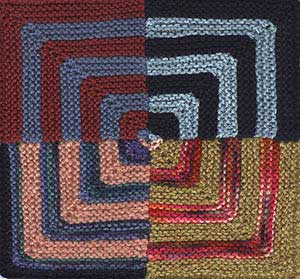 Four unblocked motifs stitched together to form concentric squares