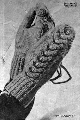 Vintage knit mittens with cable pattern