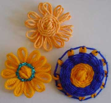 Loomed flowers with stem stitch centres