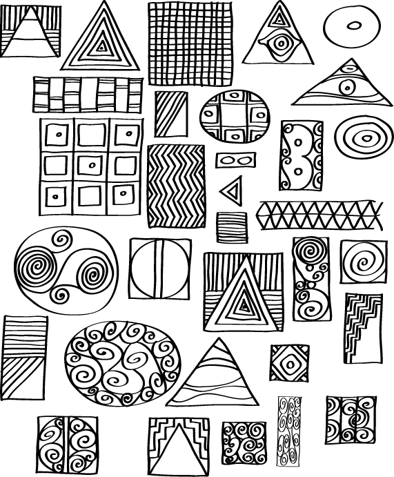 Pen and ink sketches of artistic motifs