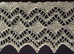 Knitted diamond lace edging