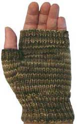 Fingerless mitts knit with 8ply or dk weight yarn