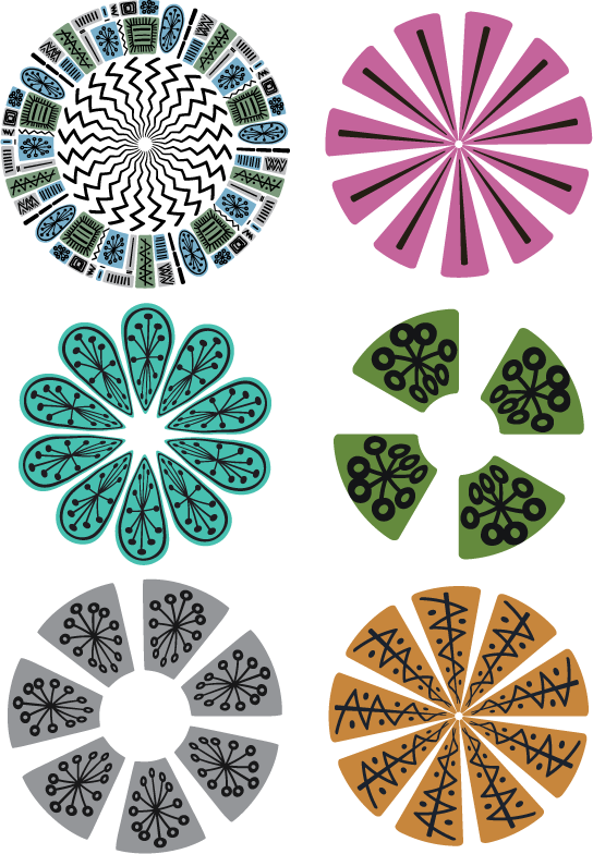 Mid century modern circle motifs drawn with the Temporama brush set for Adobe Illustrator