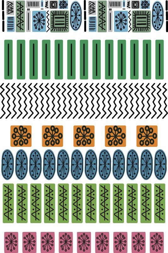 Mid century modern brush set for Adobe Illustrator
