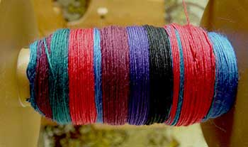 self striping yarn on the bobbin