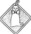 Retro felt cat pot holder. Free pattern.