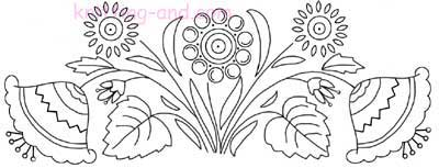 Jacobean style floral embroidery design