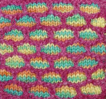 Slip stitch or mosaic knitting with variegated yarn