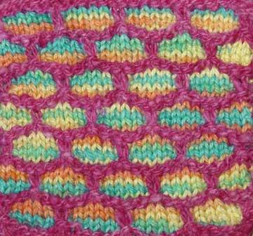 Slip stitch or mosaic knitting with variegated yarn