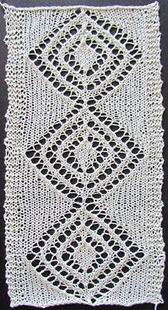 Large diamond lace insertion knit from a Victorian era knitting pattern