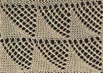 Wide knitted lace edging with openwork triangle design