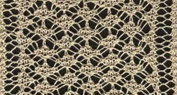 Knitted lace insertion with torchi lace pattern