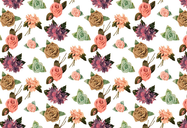Vintage fabric flowers in a repeatable pattern for use with Adobe Illustrator