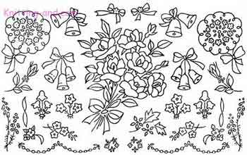 Embroidery pattern with wedding bouquet and flowers