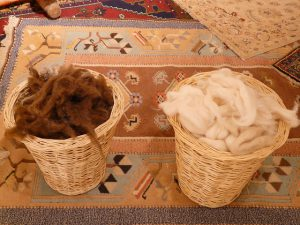 Wool in baskets
