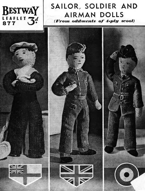 World war two knit dolls wearing military uniforms