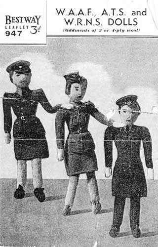 World war two knit dolls wearing military uniforms